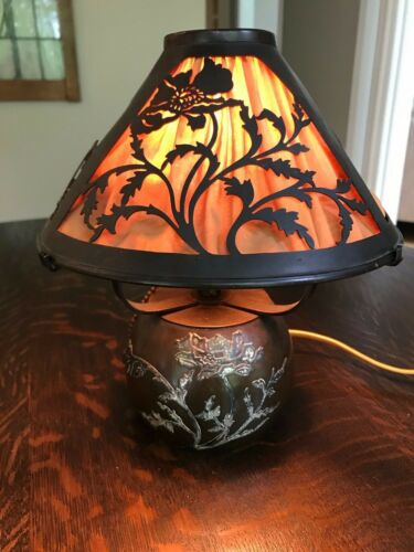 Antique Heintz Boudoir Lamp - Silver over Bronze - Arts and Crafts  All Original