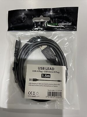 USB 2.0 A MALE To MICRO B Data and Charging Cable 1.5m...