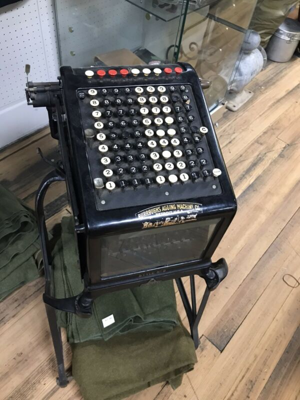 Rare Antique Burroughs Style No.9 Adding Machine W/Cast Iron Stand-063