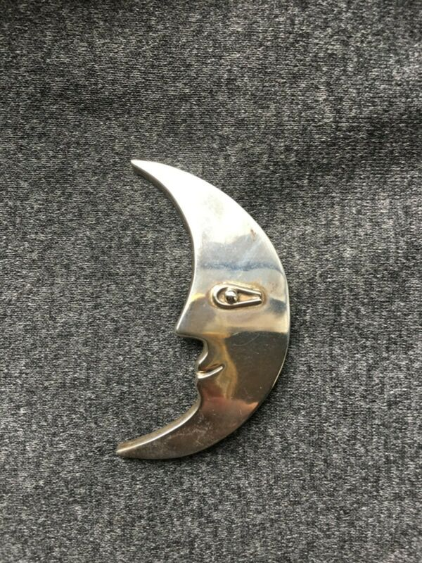 MEXICO 925 Sterling Silver - Vintage Crescent Moon Face Brooch Pin - BP5223