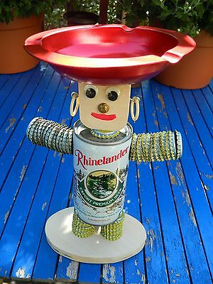 Folkart Rhinelander Bottlecap Beer Can Ashtray stand