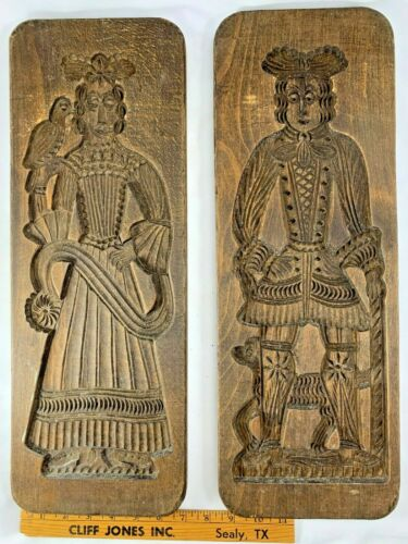 Pair of Large Antique Lovers Carved Speculaas / Spice Cookie Mold, Dutch