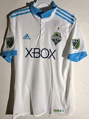 innovative design 5b023 eebda Adidas Authentic MLS Jersey Seattle Sounders Team White Alt sz L