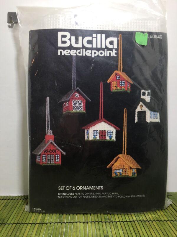 Bucilla Needlepoint 60540 Set of 6 Building Ornaments Plastic Canvas Kit