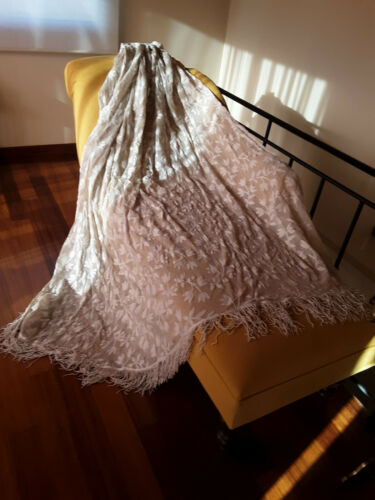1920s Antique Curtain with white embroidery on white/grey tuille w. fringes