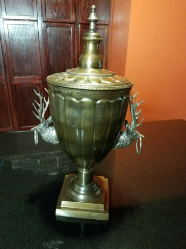 ANTIQUE SOLID BRASS URN  WITH REINDEER HEAD HANDLES NR  WOW !!!