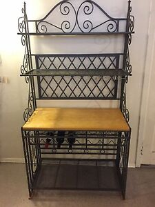 Deluxe Wrought Iron and Wooden Bakers Rack