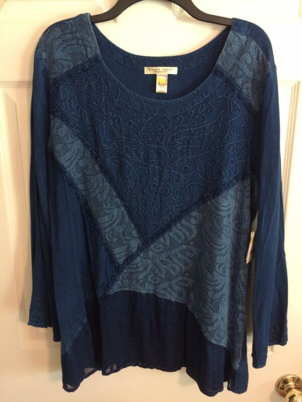 STUDIO WEST Apparel Womens PLUS Blue Embroidered L/S TUNIC Top 1X NWT