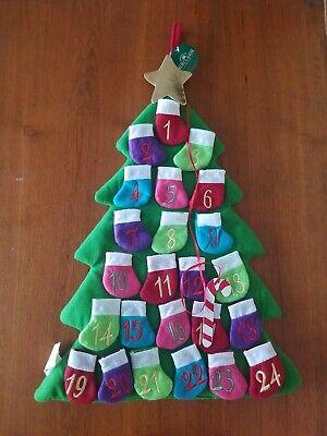 "Kurt Adler 23"" Countdown Christmas Tree Advent Calendar 24 Pockets w/ Candy Cane"