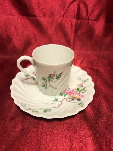 ANTIQUE LIMOGES FRANCE HAVILAND & Co. DEMITASSE CUP SAUCER RIPPLE DESIGN