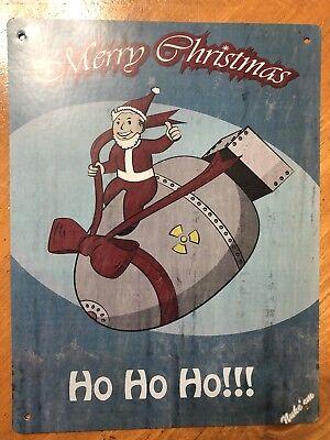 Tin Sign Vintage Fallout Merry Christmas Ho Ho Ho!!