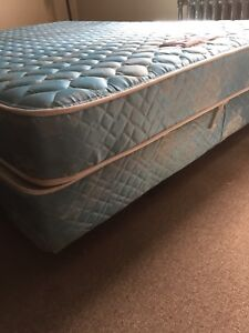 Queen size Mattress, Boxspring and Metal Frame