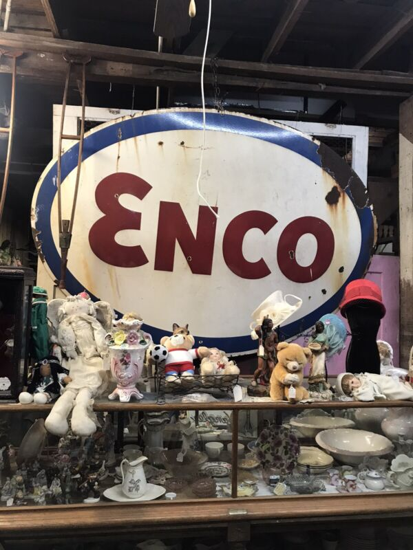 RARE Large Vintage ENCO Porcelain Enamel Oval Sign - Gas & Oil Petroliana 8'x6'