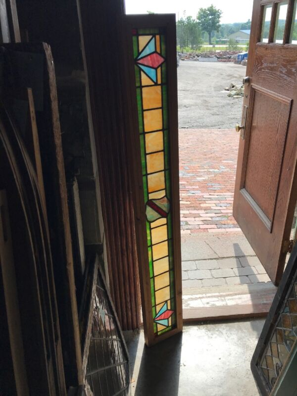 Sg 2987 Antique Deco style stained glass transom window 8.75 x 60.75