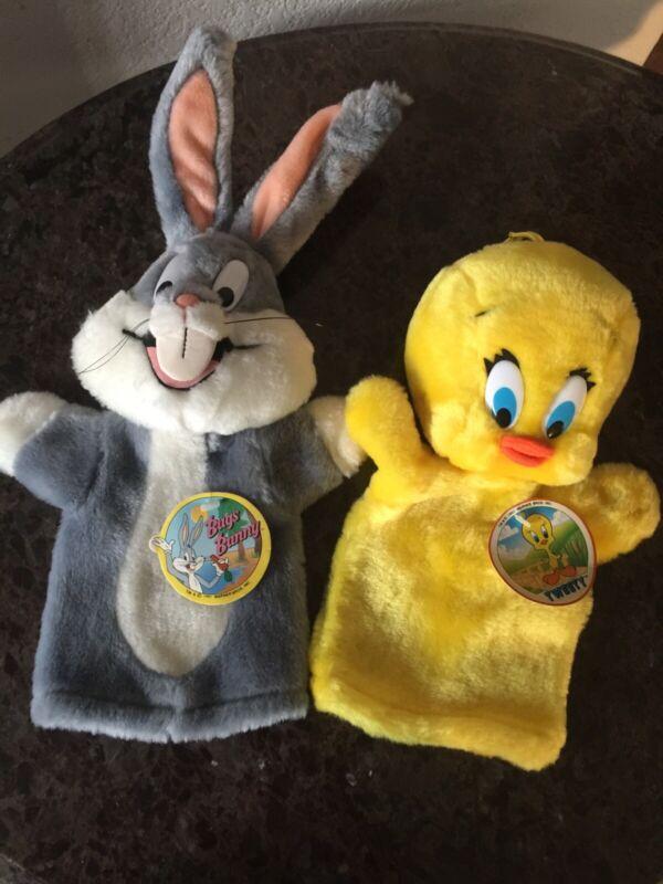 Vtg 1991 Warner Bros Looney Tunes Plush Tweety Bird & Bugs Bunny Hand Puppets