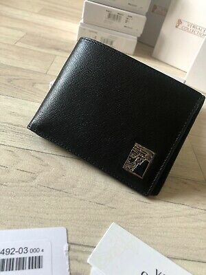 Mens Versace Leather Wallet Black Leather Card Holder Versace Collection £100 Y