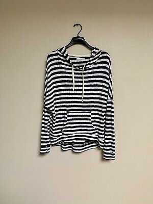 Abercrombie & Fitch Navy Blue White Striped Hoodie Sweater Size M