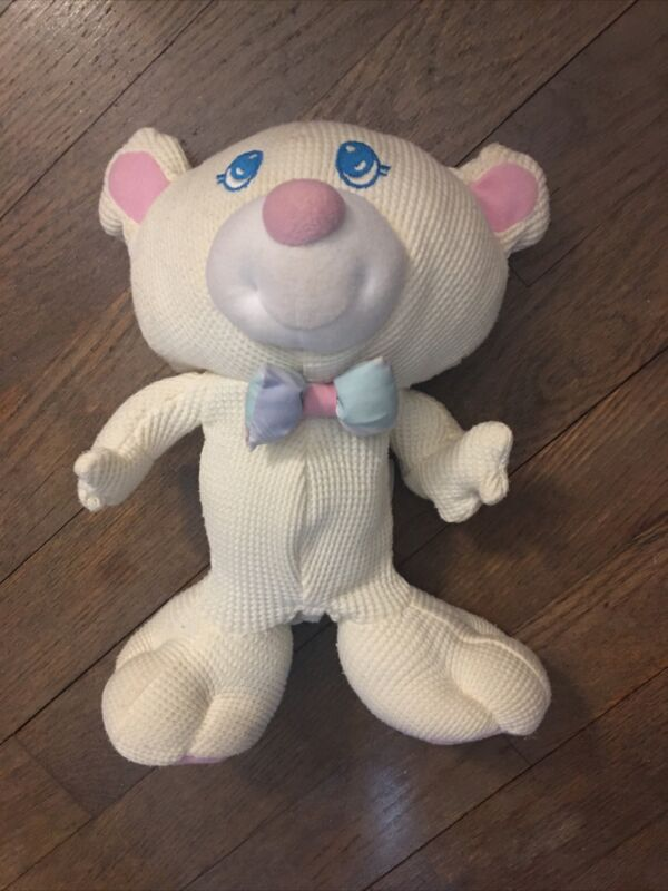 "Fisher-Price 1994 Thermal Waffle Cozies 10"" Cream Teddy Bear Plush Comfort Toy"