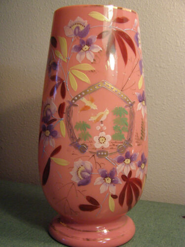 1880s PINK CASED ART GLASS VASE HAND PAINTED ENAMEL BIRD & FLOWERS