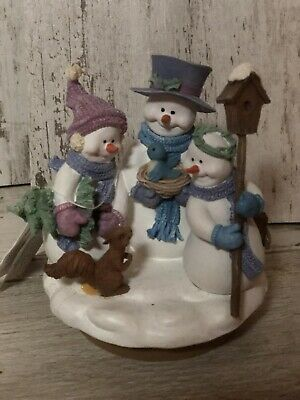 Nwt Homco Home Interiors Snowman, Squirrel, And Tree, Birdhouse Candle Topper