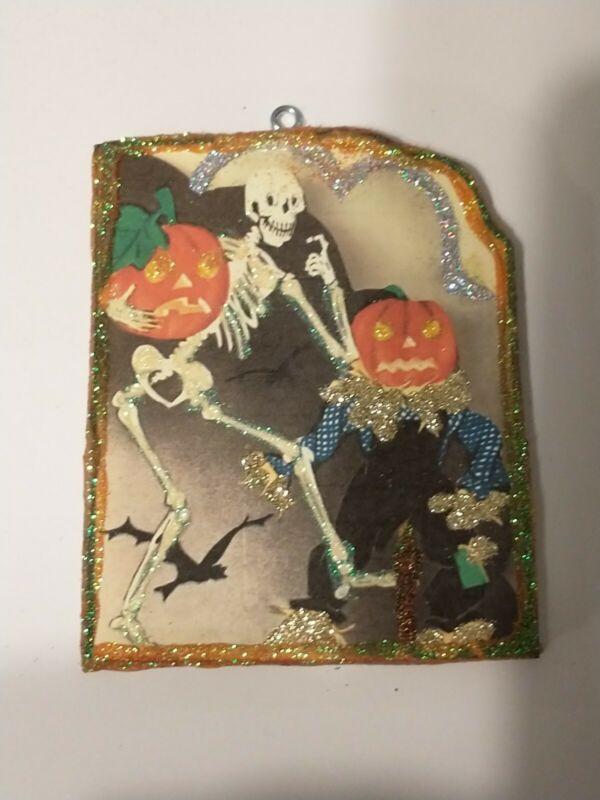 Vtg Image~JOL Scarecrow Skeleton ~ Halloween Glitter Wood Ornament