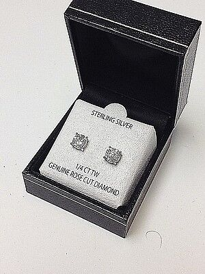 1/4 CT GENUINE ROSE CUT DIAMOND  925 STERLING SILVER  DESIGNER STUD EARRINGS new