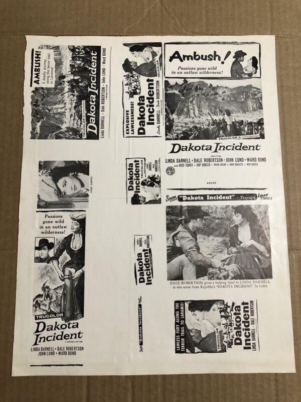 DAKOTA INCIDENT - Vintage 1956 Press Kit Ad Advertising Supplement Page