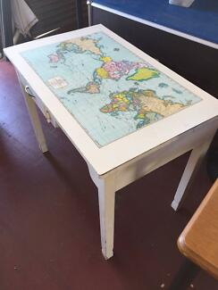 Desk glass ikea world map with lamp and tressels desks gumtree student desk with world map gumiabroncs Gallery