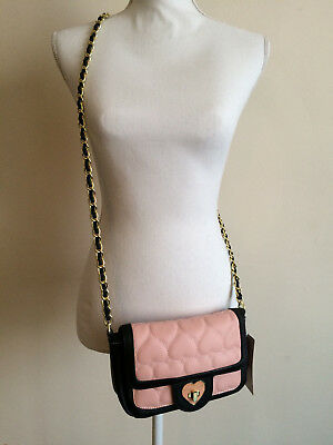 NWT BETSEY JOHNSON Turnlock Flap Cross body Be Mine Heart Blush Black Gold Chain