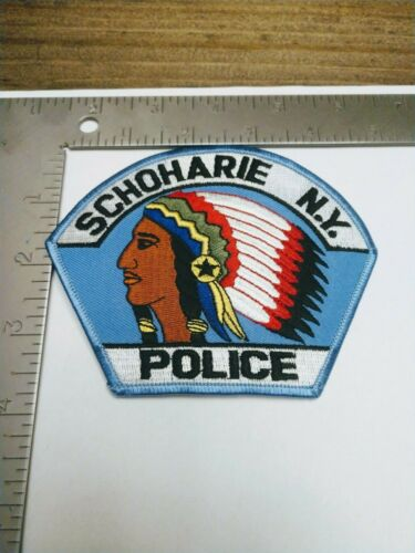 O Police patch patches Schoharie New York Indian Motiff head dress