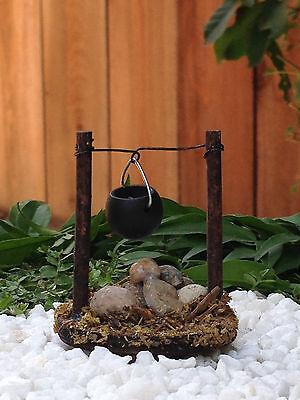 Miniature FAIRY GARDEN Accessories ~ Micro Mini Wood Stone Campfire w/ Pot ~ NEW