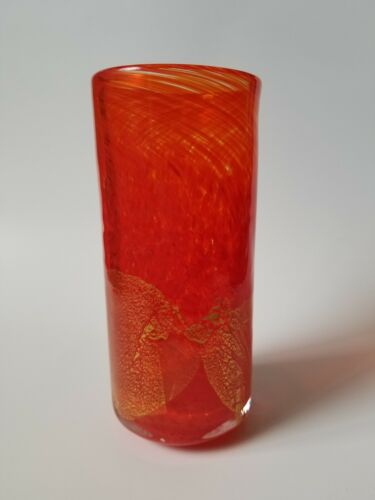 Gozo Art Glass Pop Art Cylinder Vase Coral Red Swirl Gold Leaf Maltese Signed