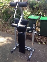Weight bench, bars and weights. Decline flat foldable. Oatley Hurstville Area Preview