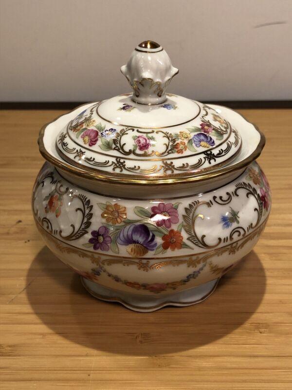 Schumann Dresden Garland Sugar Bowl & Lid Flowers Swag Chains Gold