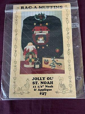 "Rag-A-Muffins: ""Jolly Ol' St. Noah"" 11 1/2"" Noah Doll & Appliques"