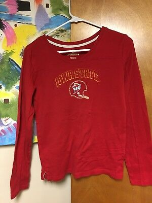 ESPNU Iowa State Cyclones Football Long Sleeve Women's T-shirt Medium Distressed