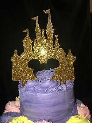 Mickey Disney Castle Cake Topper Gold Acrylic, Birthday, FREE SHIPPING ()