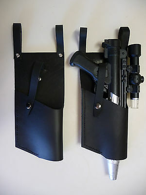 Star Wars Black 4 oz DH-17 LEATHER HOLSTER costume prop fits - Blaster Holster