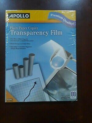 Apollo Plain Paper Copier Transparency Film 100 Shsheets