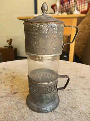 Antike Kaffee Teemaschine mit Marke Weissblech Glas sehr Dekorativ
