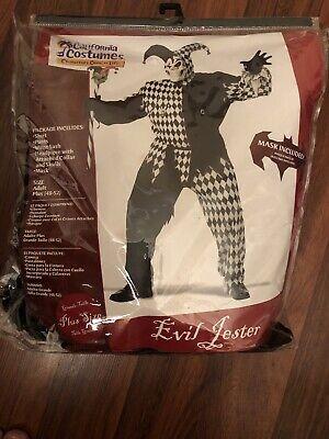 Evil Jester Scary Skull Adult Men Halloween Costume (Black/White) Size: 48-52
