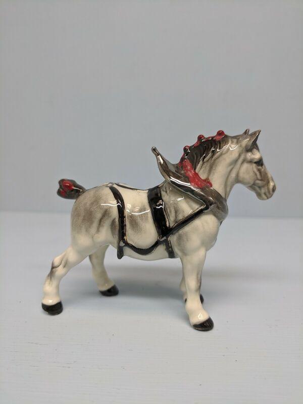 Old Monrovia  Hagen Renaker White Draft Horse in Harness