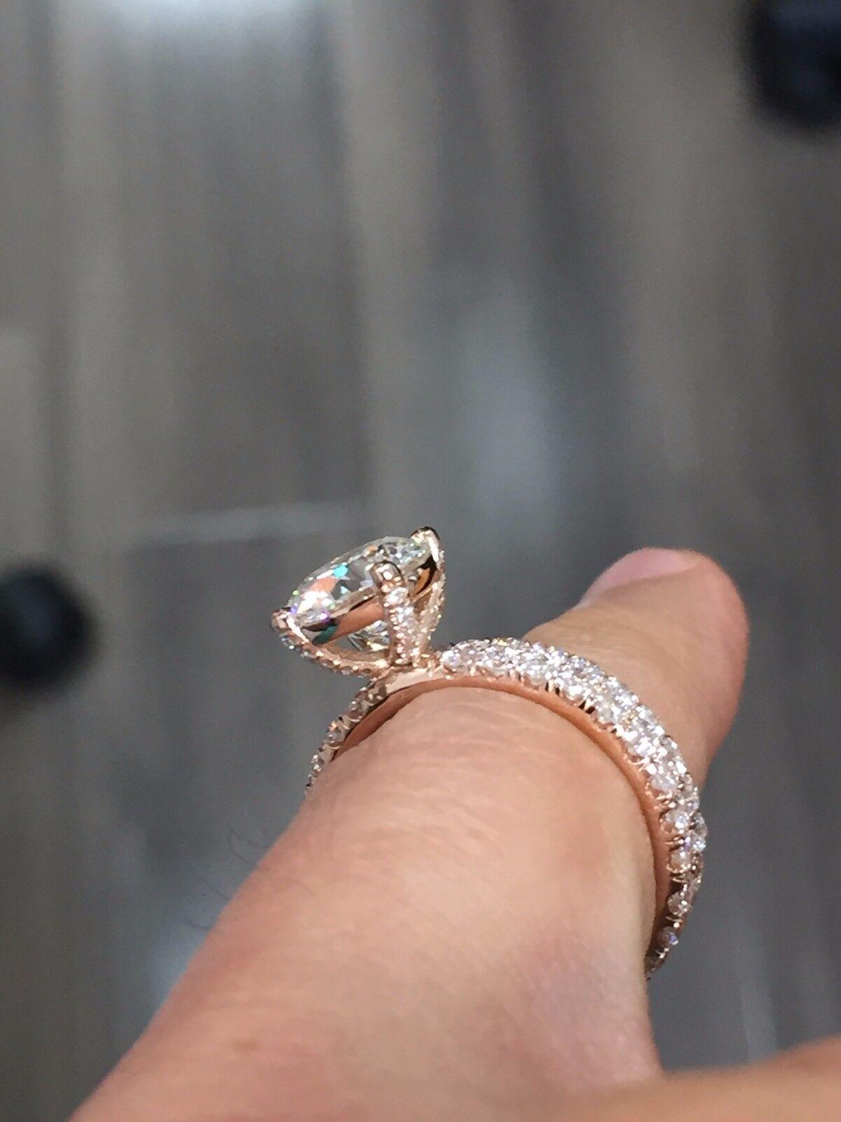 1.80ctw Natural Round Cut Pave Diamond Wedding Bridal Set - GIA Certified 1