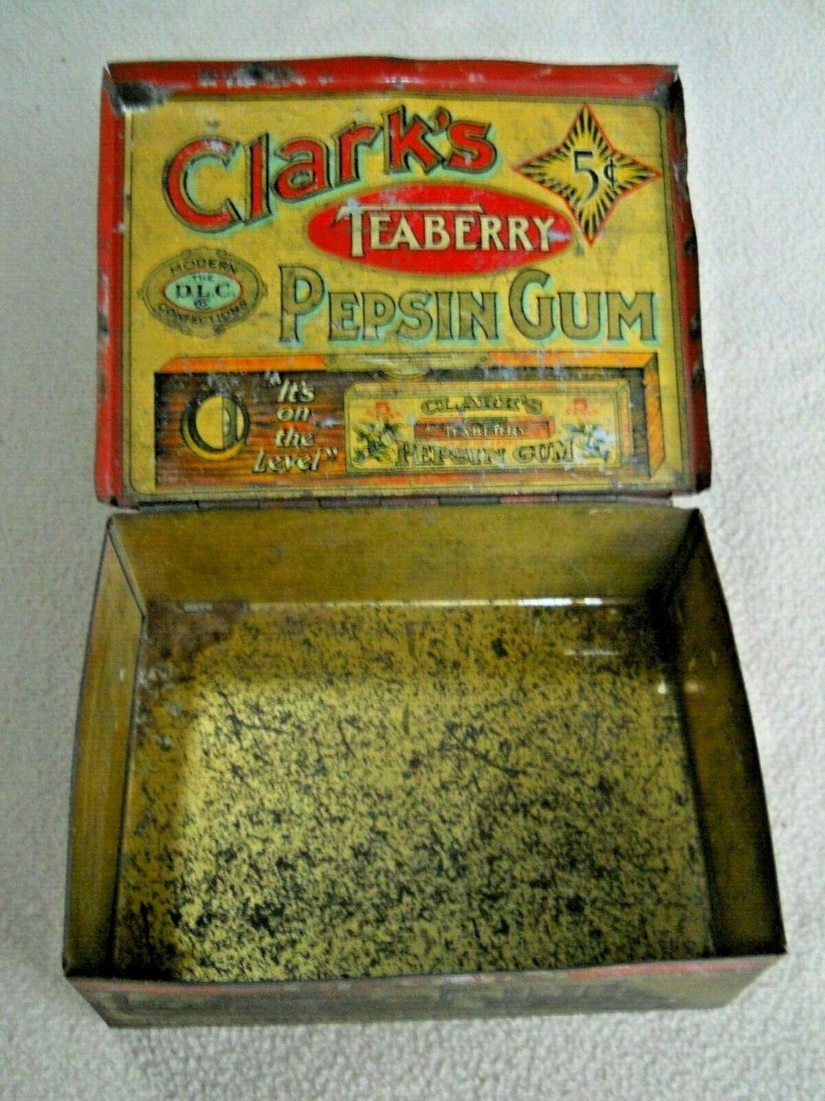 Vintage Clark's Teaberry Pepsin Chewing Gum Tin
