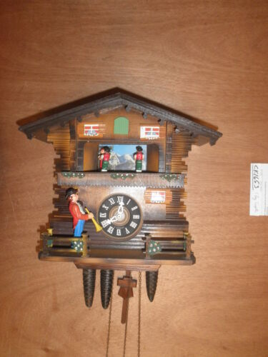 German made working SEE VIDEO musical Chalet Trumpeter 1 Day Cuckoo Clock CK1653