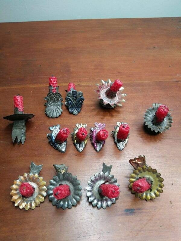 13 ANTIQUE VICTORIAN TIN CHRISTMAS TREE BRANCH  CANDLE CLIPS