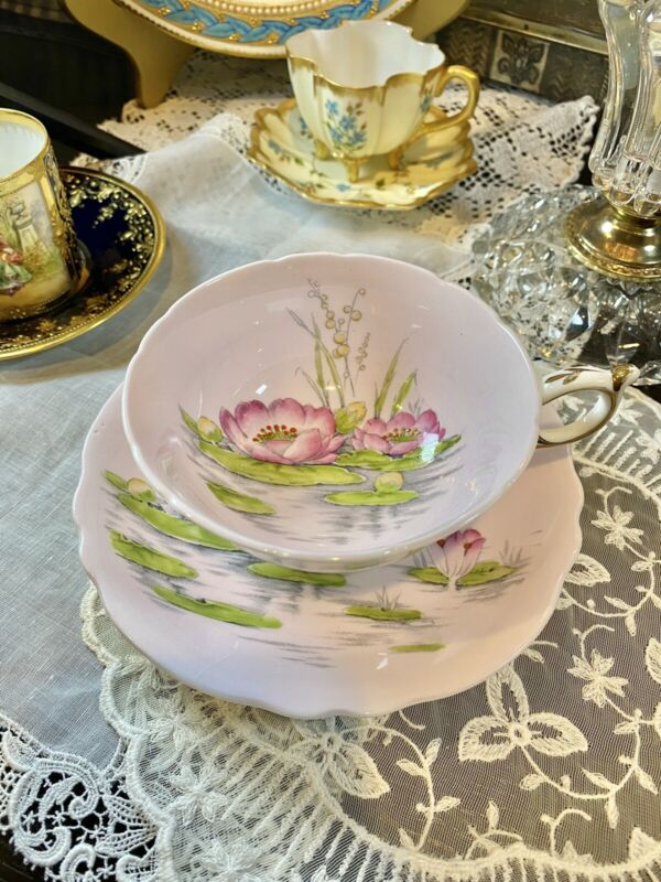 Mint Rare Paragon Double Warrant Pink Lotus Flower Footed Tea Cup & Saucer 6534