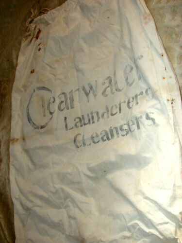 "Vintage Edwardian Laundry Bag Sack Stencil Drawstring 26x33"" Clearwater Antique"