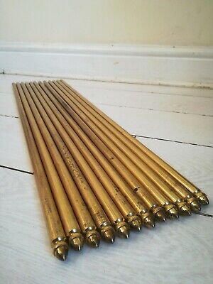 """3//8/"""" x 28.5/"""" Thistle Finial Candy Twist 13 X Antique Brass Stair Rods"""