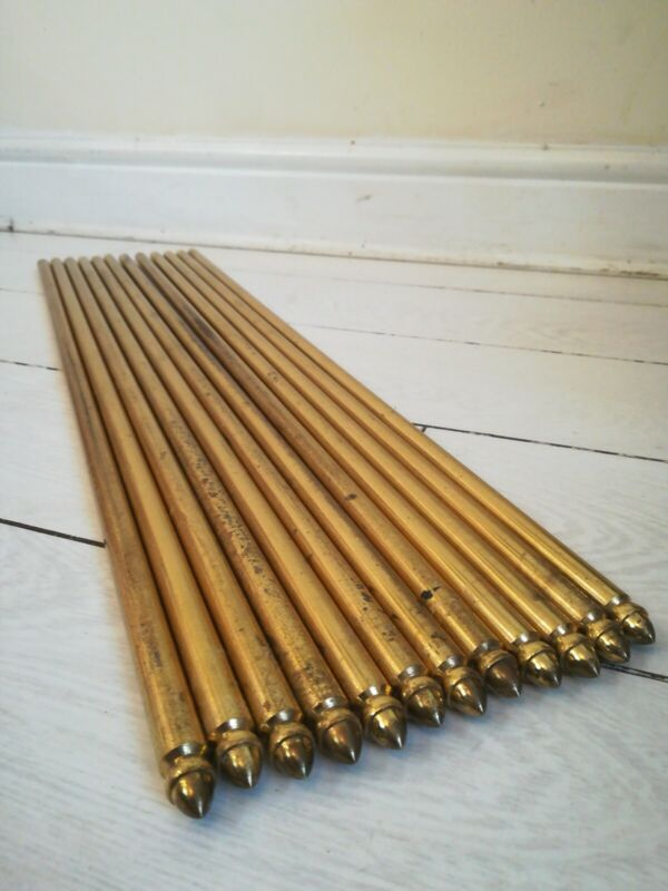 "Stair Rods 12  27""Antique Victorian Brass Acorn Tipped Carpets Rugs Gripper Rods"